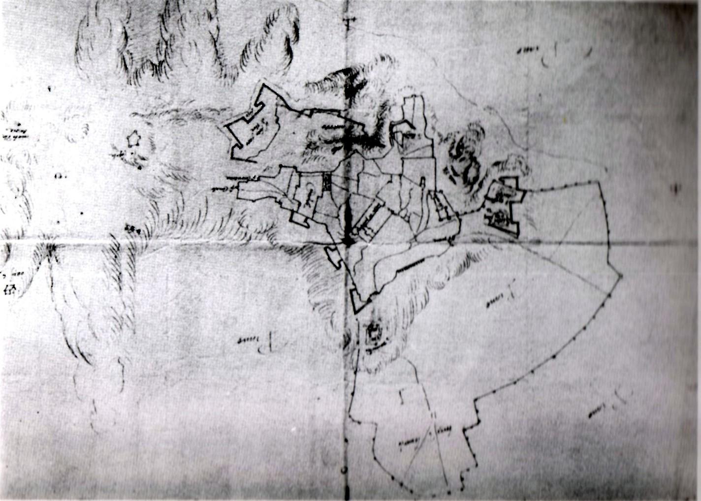 1562 progetto Mura -la più antica pianta delle mura