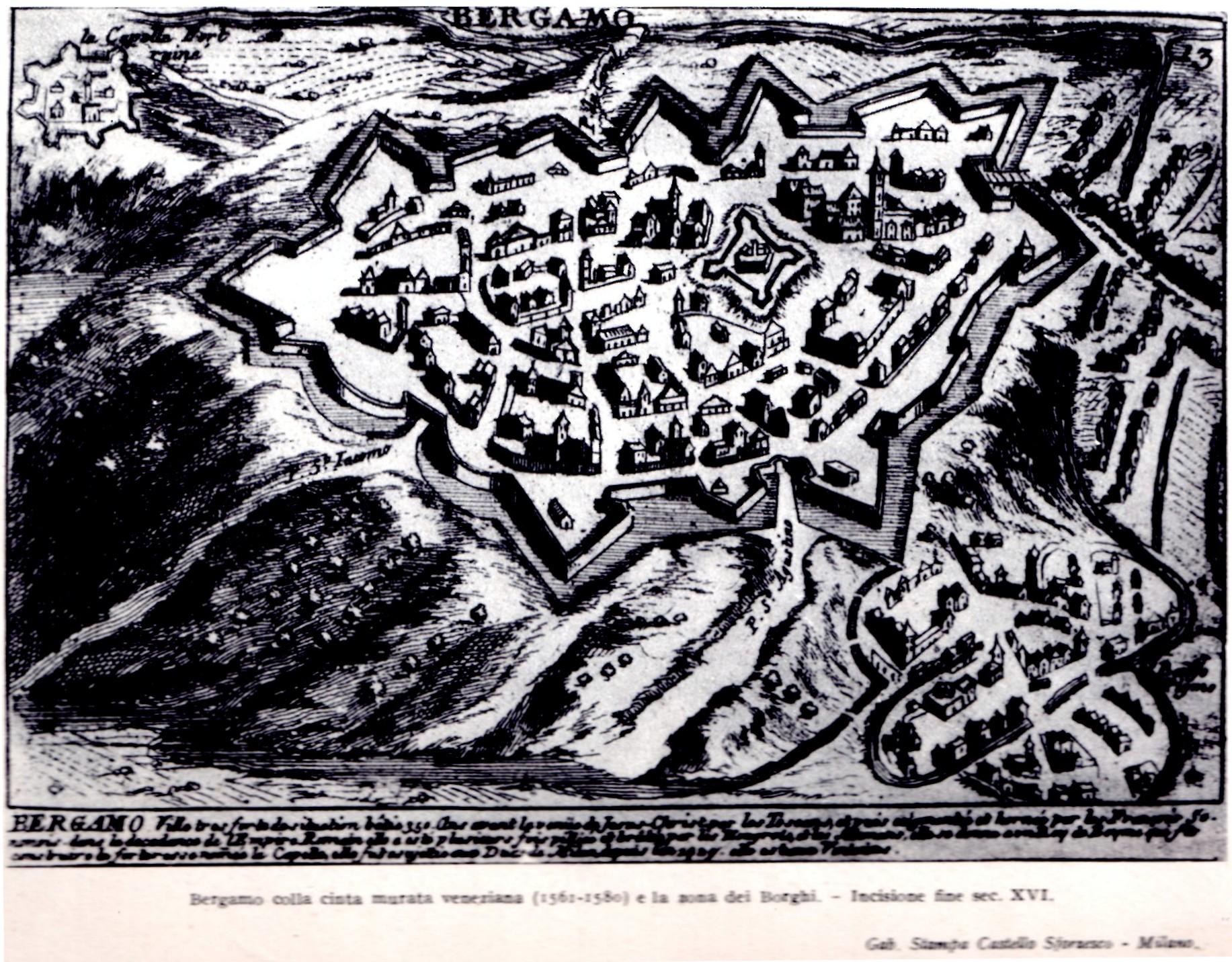 1627 Bg con mura nuove  -stampa - Castello Sforzesco