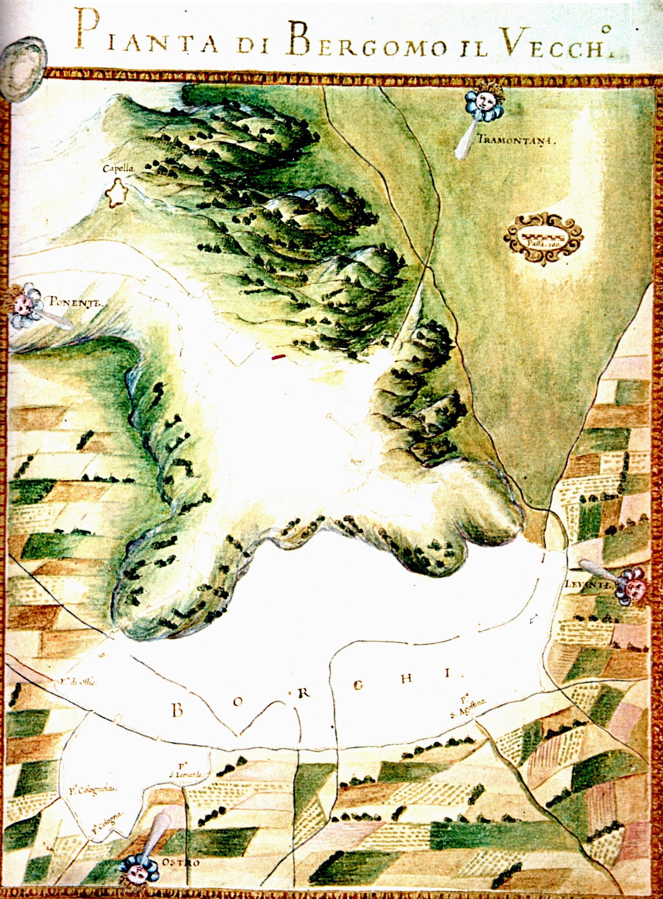 """1654 Pianta di """"Bergamo il Vecchio"""""""