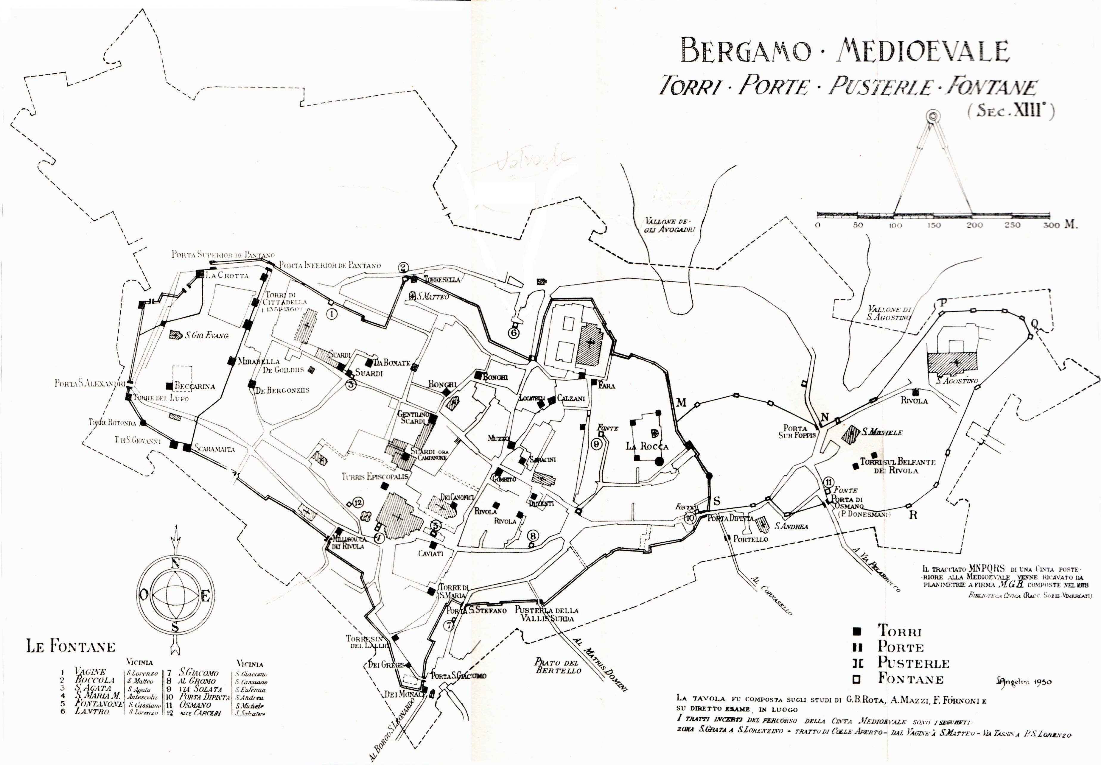 torri, porte, fontane nel medioevo - mappa L.Angelini 1952