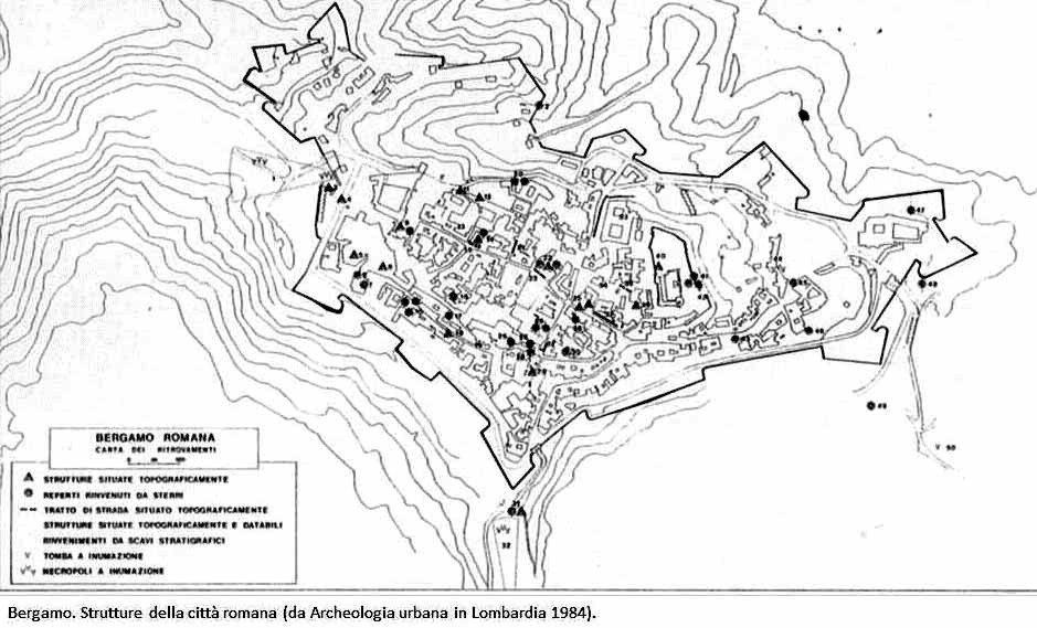 Bg romana- ritrovamenti - mappa Mirabella 1984
