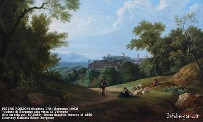 1830ca Bg Alta vista da Valverde - dipinto P.Ronzoni
