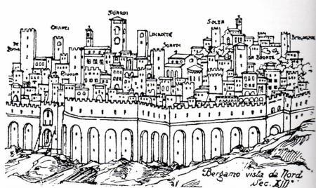 Bergamo del 1200 da nord -disegno L_Angelini