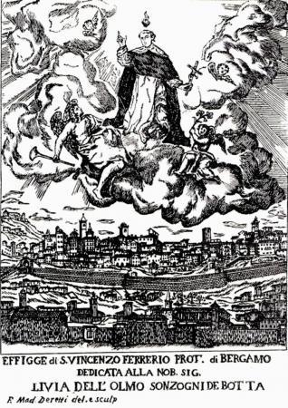 1645ca Bergamo protetta da S.Vincenzo - dipinto Deretti