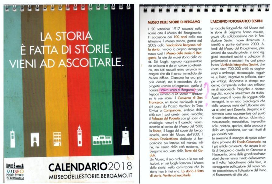 calendario 2018 museo storie